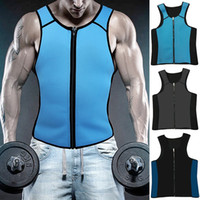 Wholesale Sauna Slimming Tummy - Workout Vest for Men Body Shaper Slimming Shirt Tummy Waist Trainer Vest Abdomen Shirt Hot Neoprene Tank Top Sauna Suit Shirt Zip Trimmer