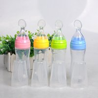 Wholesale bottle feeding infants online - New ml Baby Feeding Bottle with Spoon Silicone Bottle Feeding Infant Food Supplement Rice Cereal Color Best Quality