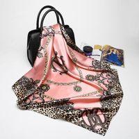 polyester seidenschals großhandel-Rosa Leopard Hijab Schal Frauen Luxusmarke Silk Schals Foulard Square Head Wraps 2017 Neue Mode Schal Hersteller 90 * 90 cm