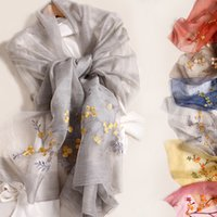 Wholesale Ladies Wool Blend Wrap Shawl - Autumn and winter Mulberry silk scarves Embroidery flowers Silk embroidery scarves Wool scarves Blended ladies shawls Designer scarf