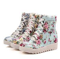 ingrosso scarpe nascoste degli alti talloni-Stivaletti stringati con lacci con stampa floreale delle donne Fodera in pile caldo Inverno con neve Tacco alto nascosto Colori misti