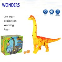 Wholesale plastic dinosaurs large - New Electric toy large size walking dinosaur robot With Light Sound Brachiosaurus Battery Operated kid Children Boy Girl Gift