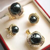 pingentes de concha de pérolas negras venda por atacado-10 milímetros 14 milímetros preto shell pérola brincos anel conjunto pingente de colar