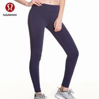ingrosso yoga pant-Vendita calda !!! Caldo! Il più nuovo classico caldo pieno di colore blu scuro di colore solido Nine Point pantaloni donna abbigliamento sportivo yoga