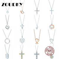 collier de soleil 925 achat en gros de-DORAPANG 100% 925 Sterling Silver Necklace En forme de coeur Sun Cross Couronne larme Pendentif Chaîne Rose Or Original Femmes Bijoux