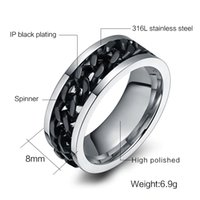 Wholesale men's rings for sale - 10PCS Fashion Men S Ring The Punk Rock Accessories Stainless Steel Black Chain Spinner Rings For Men Color Usa Size