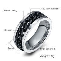 anillo de tamaño usa al por mayor-Cadena 10PCS manera de los hombres S Anillo El punk Roca de los accesorios de acero inoxidable Negro Anillos Spinner para el tamaño de los hombres 3 en color usa 6 -15