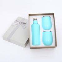 ingrosso imballaggio bottiglia regalo-17 once confezione regalo in acciaio inox bottiglia di vino rosso con tazze Outdoor Cooler refrigerato set da vino 500 ml 12 once doppio strato