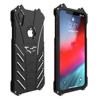 Wholesale aluminum note phone case for sale – best Shockproof Aluminum alloy phone case for iPhone XS MAX XR Iphone X PLUS with Steel kickstand Hollow oxidation cover for S9 NOTE9