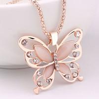 цепь бабочки большая оптовых-Розовое золото Acrylic Crystal 4CM Big Butterfly Pendant Necklace 70CM Long Chain Sweater Ювелирные изделия для женщин