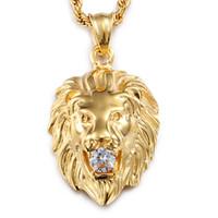 altın zincirler aslan başı toptan satış-Erkek Altın Gümüş Renk 316L Paslanmaz Çelik Aslan Başkanı Kolye Kolye Rhinestone Link Zinciri ile Kakma VICHOK