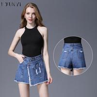 жаркая корейская юбка оптовых-LXUNYI 4XL Women shorts Skirt Jeans Button Big Size Korean Skirts Shorts With A High Waist Pockets Tassel Short Femme Hot Summer