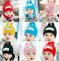 Wholesale baby beanies patterns for sale - Baby Spring Hat Scarf Lovely pattern Print Cotton Children Cap Collar Kids Boy Girl Beanie bonnet Infant Toddler Hats Set