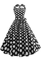 Wholesale Tea Length Polka Dot Dress - Audrey Hepburn 2018 New Fashion Retro Vintage 1950s 60s Black White Polka Dot Tea Length Causal Dress Robe Summer Beach Dresses FS3848