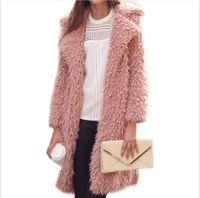 Wholesale women s pink fur coats - Hot Selling Winter New Lamb Fur Coat Furry Long Coat Cotton Women Fashion Outerwear 5 Colors