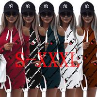 Wholesale mini hoodies - 3XL Letter Printing Hoodies Dress Summer Autumn Dress 2018 High Quality Casual Off Shoulder Mini Bandage Tops Sportwear Women Clothings