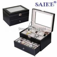mode-displays großhandel-Top Leder Uhren Box Schwarz 20 Grids Uhr Aufbewahrungsboxen Fashion Brand Uhr Display Box Schmuck Geschenk Fällen