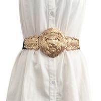 ingrosso cinghie metalliche elastiche di moda-Moda Avatar metallo dorato femminile cinghia delle signore Hasp Prom Cummerbunds elastiche cinghie larghe per le donne Abiti