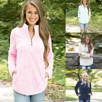 Wholesale womens sweaters jackets resale online - Sherpa Pullover Women Fleece Hoodie Jacket Winter Autumn Outwear Zipper Long Sleeve Sweater Womens V neck Sweatshirt home clothing GGA940