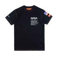 moda pamuklu kadınlar toptan satış-New York Moda Yüksek Kaliteli Heron Preston Nasa ABD Bayrağı Nakış Erkek Kadın Sokak Lüks Pamuk Hoody Rahat Kısa Kollu T-Shirt
