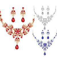 gelbgold saphir halskette großhandel-3pcs / set hochzeitskleid schmuck für charme von frauen halskette ohrringe kette party geschenk drop shipping rot blau weiß