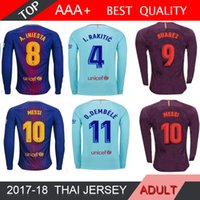 Wholesale Messi Quality Jersey - Suarez MESSI O.DEMBELE long sleeve Soccer jersey 2018 home away Blue INIESTA RAKITIC PIQUE Jersey thai quality Man football long shirt