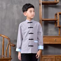 traditionelle lange tops großhandel-Chinese Folk Hanfu für Jungen Tops Ethnische Langarm-Bluse chinesischen traditionellen Kostüm Kinder alten Stil Jacke