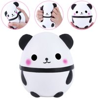 Wholesale panda baby toys - 15cm PU Squishy Panda Egg Doll Soft Jumbo Cream Scented Squeeze Slow Rising Simulation Bread Dcompression Baby Toy Children Kids Toys AAA173