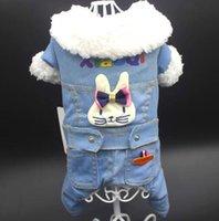 mini cão roupa venda por atacado-Roupas para animais de estimação inverno novo jeans, cabeça de coelho, pilha dupla, espessamento de algodão acolchoado jaqueta, Teddy PAM mini roupa do cão.
