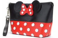 ingrosso consegnando borse da toeletta-Cartone animato Bow Makeup Viaggio Cosmetic Bag Case Women Zipper Hand Holding Make Up Borsa Organizer Storage Pouch Toiletry Wash Bags