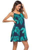 vestido de gasa de playa para cubrir al por mayor-Boho mujeres vestido de verano flojo ocasional impreso floral playa mini vestido de oscilación gasa Bikini cubrir vestido de mujer ropa
