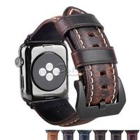 piel de pelle al por mayor-Pelle Banda de reemplazo de cuero genuino compatible para 42 mm 38 mm iwatch Apple Watch S1 S2 S3 S4 Negro Hebilla Conector Negro