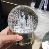 Wholesale crystal angel gift - Christmas tree Crystal Ball Glass Globe Arts Home Decoration Christmas Snowflake Ball Children XMAS Gifts WX9