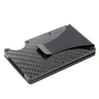 Wholesale carbon card holder resale online - Slim Carbon Fiber Credit Card Holder RFID Blocking Metal Wallet Money Clip Case easy carry for hiking Camping