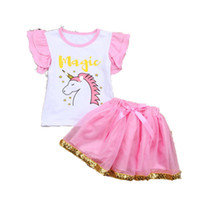 Wholesale newborn clothing gift sets for sale - Group buy New unicorn baby girls suits top tutu skirts girl outfits newborn babies holidays clothing set toddler gifts