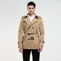 Wholesale Fashion Pea Coats - Luxury Brand Coat Trench For Mens Europe Brand Fashion Navy Trench Male Slim Causal Business Pea Coat Red Overcoat Plus Size 5XL