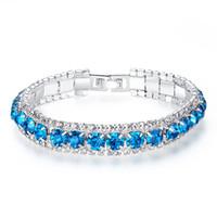 Wholesale Blue Bangle Bracelets - New Arrival Design Ladies Bracelet Diamonds Blue Color Chain Link Charm Shiny Crystal Bracelets Bangles Women Accessories