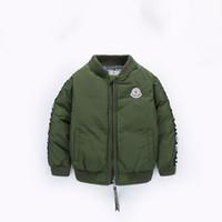 jaquetas do exército meninos venda por atacado-Bebê Parka Outono Exército Europeu Jaquetas Acolchoadas Para Meninos Moda Carta Verde Algodão Acolchoado Bomber Jacket Crianças Casaco Meninos de Inverno