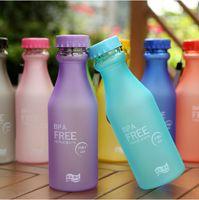 Wholesale Colored Plastic Bottles - 550ML Candy Color Korea Style Newest Design Portable Clear My Bottle Healthy Sport Bicycle Plastic Fruit Lemon Juice Water Cup