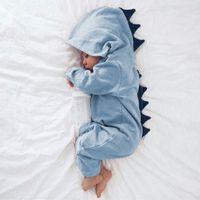 newborn long sleeve bodysuit 도매-신생아 아기 소년 소녀 공룡 후드 형 Romper 점프 슈트 복장 긴 소매 단색 캐쥬얼 베이비 Rompers 바디 수트