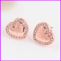 Wholesale Heart Shaped Diamond Earrings Studs - Studded MK letter stud earrings m series Heart-shaped diamond earrings three color selection for woman famous luxury brand Stud