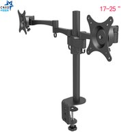кронштейны для крепления к телевизору оптовых-Double Monitor Arm Desk Mount Full Motion Computer TV Screen Bracket Swivel and Rotate Dual Stand 17-25 inch Monitor Holder