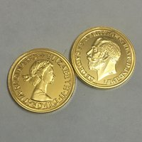 Wholesale Gold Coins 24k - 10 pcs The 1913 George and 1959 Elizabeth coin 24K real gold plated badge Georgivs on a horse souvenir coin, free shipping