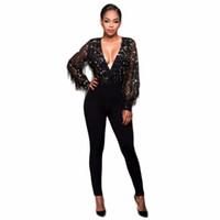 черный v шея комбинезон оптовых-Fashion Women See Through Tassel Black V-neck Sequin Patchwork Jumpsuit Sexy Party Night Club Romper Femme Jumpsuit