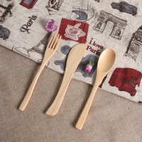 Wholesale wood animal spoon for sale - Group buy Originality Wooden Dinnerware Natural Bamboo Tableware Gift Security Non Toxic Spoon Fork Knife Set Exquisite Anti Scald zl jj