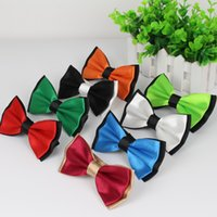 Wholesale tuxedo decorations - Mens Fashion Tuxedo Classic Tie Adjustable Plain Two Tone Bow Tie Tied Wedding Bow For Evening Party Decoration