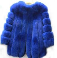 шубы из черной лисицы оптовых-New warm winter coat fashion  fur coat silver  black white Middle- long overcoat Free Shipping0