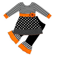 trajes de invierno para niñas pequeñas al por mayor-Toddler Baby Girls camiseta de manga larga de Halloween Tops Rayas Flare Pantalones 2PCS lunares lindo otoño invierno trajes conjunto