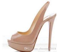 beige lackleder plattform schuhe großhandel-großhandeleandretail frauen peeptoe lackleder frauen high heels, brand design damen plattform pumpt 14cm ferse sandale schuhe 35-42