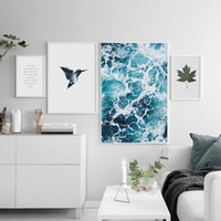 Wholesale Canvas Bird Paintings - Nordic Home Decor Painting Sea And Bird Canvas Painting A4 Poster Wall Pictures For Bedroom Living Room Canvas Prints No Frame